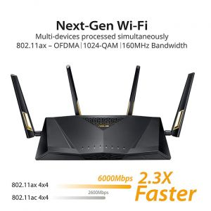 ASUS RT-AX88U AX6000 Dual Band Gigabit Wi-Fi Router (Black)